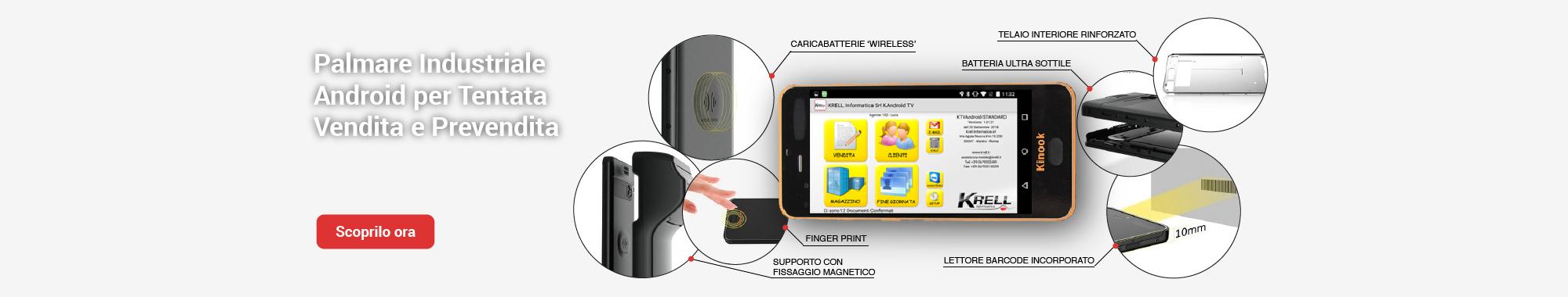 Kinook palmare android per tenatata vendita e prevendita